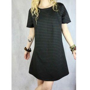 LIKE NEW Halo Black Silver Stripe Zip Shirt Dress
